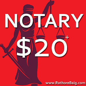 $20 - NOTARY PUBLIC & COMMISSIONER OF OATHS - OPEN 7 Days