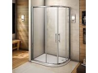 Quadrant Shower Enclosure Walk In Corner Cubicle Glass Door Stone Tray+Waste