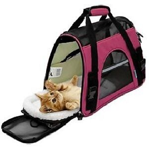 Pet Carrier Soft Sided Large Cat Dog Comfort Juicy Pink Bag