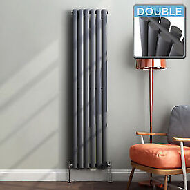 Anthracite Double Oval Tube Vertical Radiator