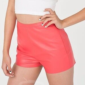 leather shorts black and red medium