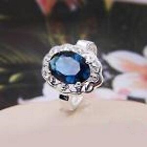 New Silver Plated Blue CZ Ring Size 7