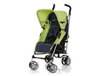 brand new hauck roma umbrella folding buggy in lime and navy with raincover from birth to three