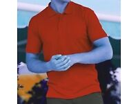 MENS FRUIT OF THE LOOM EASY CARE 3 BUTTON POLO SHIRT (new with tags)