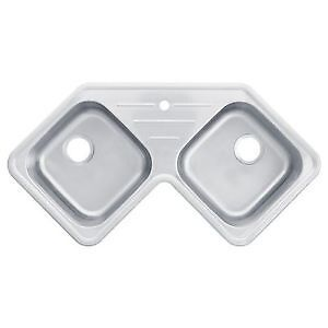Brand New (in Box) Double bowl corner sink