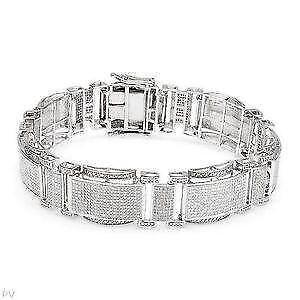 Men S Silver Diamond Bracelet