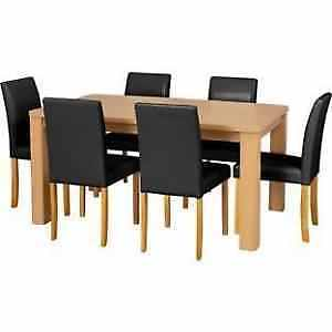 Dining Table And 6 Leather Look Chairs Next Oak Hudson Range Good Condition