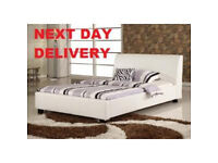 Quality White 4ft Small Double Leather Bed £50 New Display Model