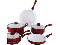 Brand New Boxed Ceramic Red 6 Piece Saucepan Set