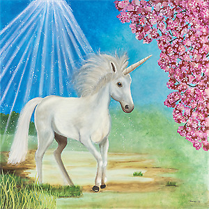Unicorn 30 x 30 x .75 wrapped stretched canvas print