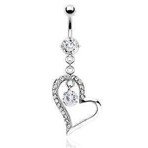 belly ring dangle gun button rings rose cz item freshtrends