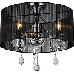 3 light chandelier - black & chrome