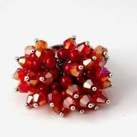 Red Crystal Rhinestone Glass Faceted Beads Adjustable Ring-NEW!