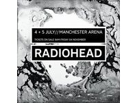 2 X Radiohead tickets for sale, Manchester 4/7/17