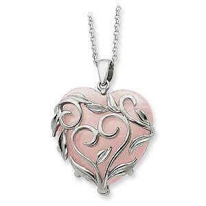 Rose quartz necklace ebay rose quartz heart necklaces mozeypictures Image collections