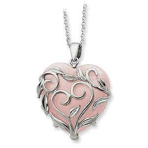 Rose quartz necklace ebay rose quartz heart necklaces aloadofball Images