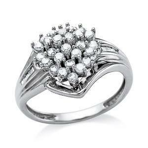 white gold diamond cluster ring - Ebay Wedding Rings