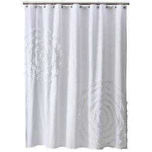 White Ruffle Shower Curtain