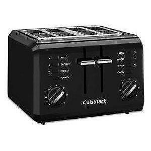 New Cuisinart CPT-142BK 4-Slice Compact Toaster-Black PU2