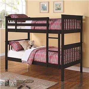 SOLID WOOD TWIN OVER TWIN BUNK BED FOR 399$ ONLY..CONVERTS IN TO TWO BEDS