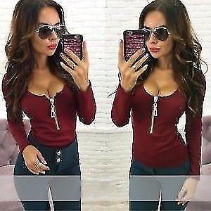 Fashion Womens Casual T Shirt Long Sleeve V Neck Loose Bandage Zipper Blouse Top, UK 10
