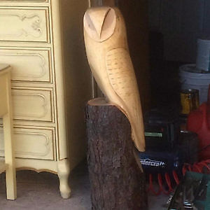 CHAINSAW CARVED OWL  IN BLACK CHERRY WOOD