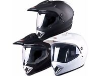 TUZO MOTORCYCLE ADVENTURE MOTOCROSS TYPE HELMET WHITE -MAT BLACK-GLOSS BLACK £59.99
