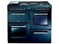 Belling Range 7 Burner GAS Cooker in Black / Chrome 1000mm 7 Burners, two Ovens and Grill