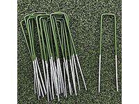 Green Artificial Grass Turf U Pins Galvanised Metal Pegs Staples Weed Garden