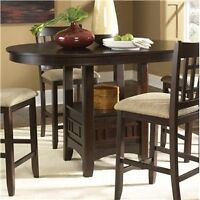 Pub style dark wood table and 6 chairs