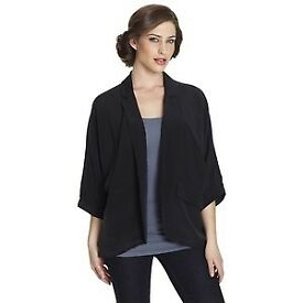 Whistles Black sandwashed silk jacket, probably suit 10-16