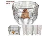 large 8 panel puppy, rabbit, pet enclosure barrier fence with gate