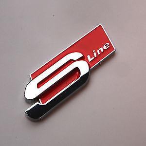 audi red s line sline chrome badge metal emblem logo s. Black Bedroom Furniture Sets. Home Design Ideas