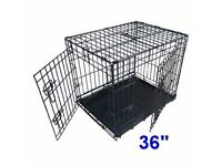 "Dog / Puppy Crate Cage Large 36"" 2 Doors, Metal Tray, Ellie-Bo, Folds for storage"
