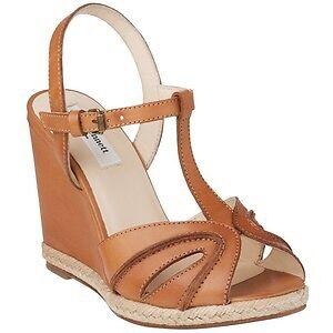 L K Bennett Tan Leather Milos T Bar Wedge Sandals Uk Size 7 Eu