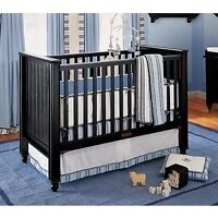 Pottery barn kids bumper pad crib skirt fitted sheets blue