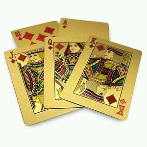 24K Carat Gold Leaf Playing Cards 52 Card Poker 2 Set&Wooden Box