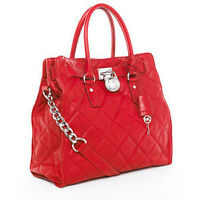 MICHAEL KORS Hamilton Quilted Leather Large Tote in Red