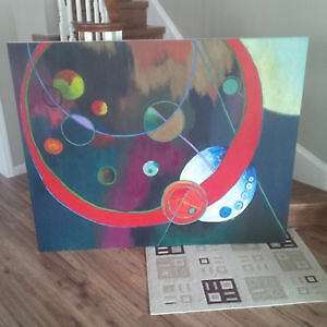 Large/Small Colorful Abstract both on Wood Canvas