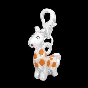 Silver Giraffe Clip On Charms Bead For Charm Bracelets