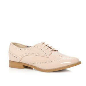 Pink patent lace up brogues