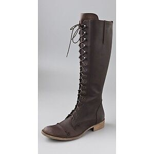 Rare Charles David Regiment Lace Boots Women Shoes Brown Italy