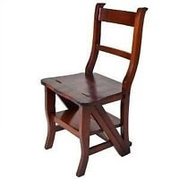 Authentic British Mahogany Library Chair & Ladder