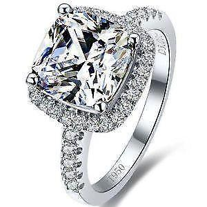 sterling silver diamond engagement ring - Sterling Silver Diamond Wedding Rings