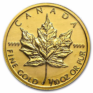 1/10 OZ GOLD CANADIAN MAPLE LEAF COIN
