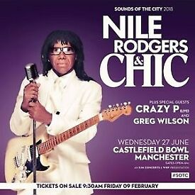 2 x tickets for Chic/Nile Rodgers at Castlefield Bowl on 27 June 2018