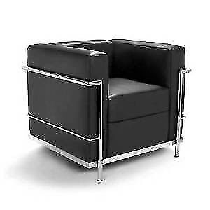 Black Armchair Faux Leather Polished Stainless Steel Framing Lane Cove West Lane Cove Area Preview