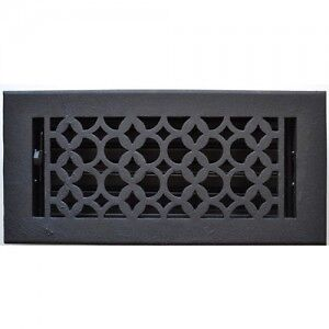 CAST IRON BLACK / BRASS FLOOR REGISTER OR WALL RETURN GRILL