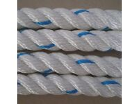 3 Strand Polyester Rope 10m x 16mm White/Blue (Marine Mooring Fender Anchor Boat Sail)