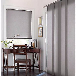 WHITE PANEL TRACK CURTAINS  FOR PATIO DOOR